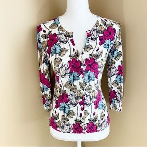 Ann Taylor Cardigan Floral Sweater button XS